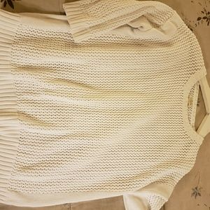 J crew chunky perforated sweater white size Large